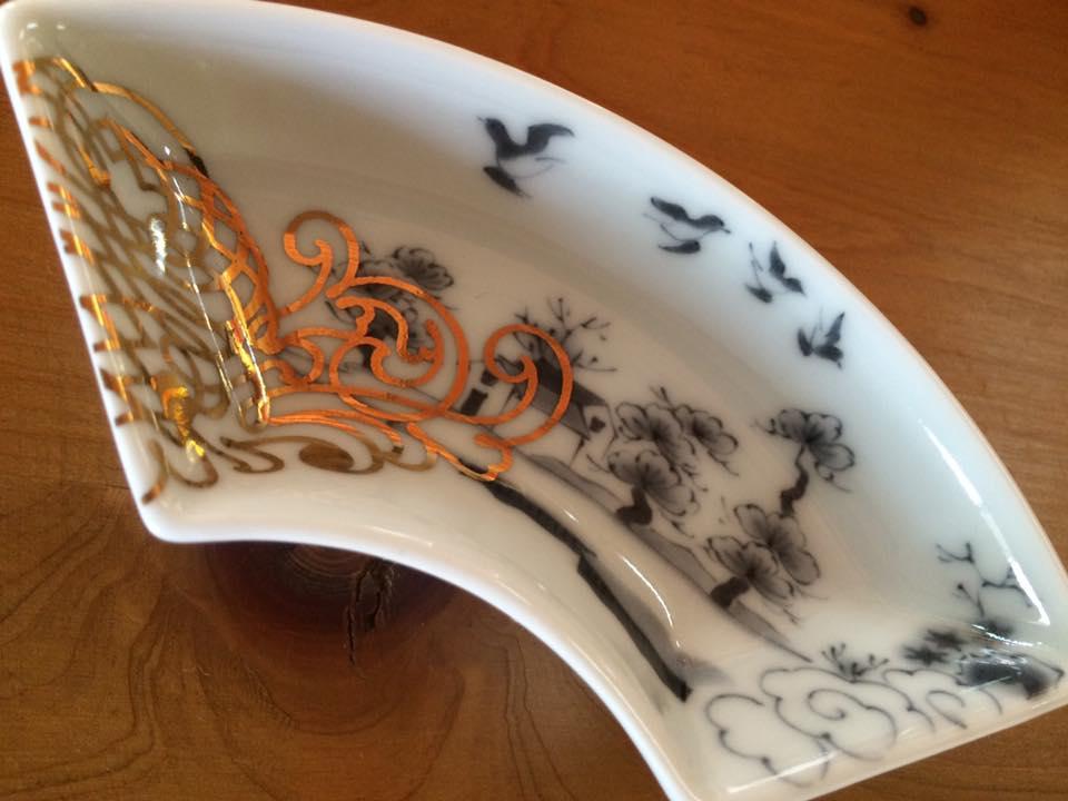 MAME 山水文扇形皿2