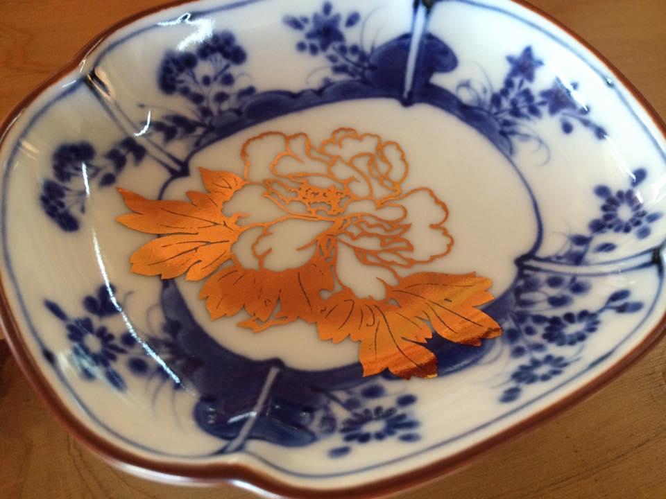 MAME 草花文木瓜形皿2